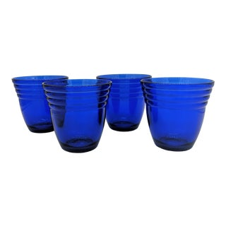 Vintage Cobalt Blue Juice Glasses - Set of 4 For Sale