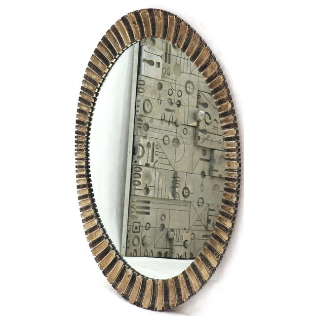 Mid-Century Modern Scalloped Edge Oval Mid-Century Modern Mirror For Sale - Image 3 of 9