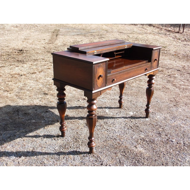 Wood Antique Walnut Empire Flip Top Writing Spinet Desk Sofa Table For Sale - Image 7 of 12
