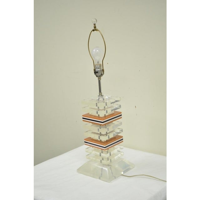 Vintage Mid Century Modern Stacked Lucite Skyscraper Table Lamp Karl Springer For Sale - Image 5 of 10