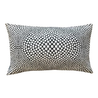 Optical White on Black Lumbar Pillow For Sale