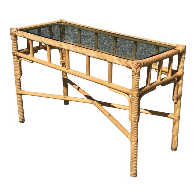 Vintage Boho Chic Reeded Rattan Console Table With X Base & Inset Glass For Sale