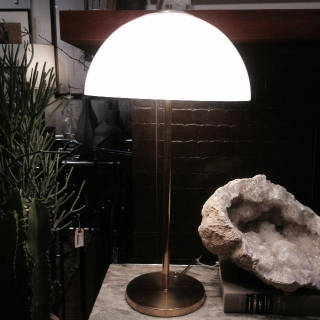 Vintage Modern Glass Dome and Brass Table Lamp - Image 2 of 3