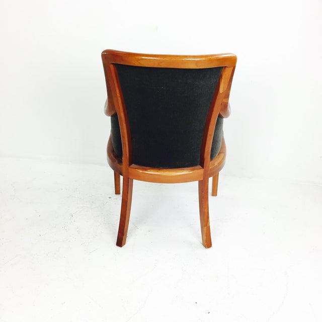 Transitional Mohair & Cherry Wood Zographas Chairs - A Pair - Image 4 of 8