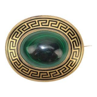 Victorian Malachite & Gold Brooch With Black Greek Key Enamel For Sale