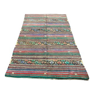 1960s Vintage Traditional Tribal Striped Turkish Kilim Rug- 4′11″ × 8′2″ For Sale