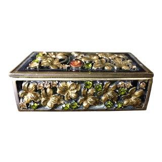 Bronze Miniature Box With Rhinestones For Sale