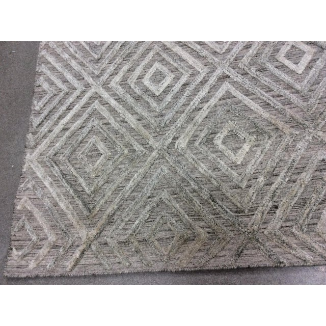 2010s Gray Diamond Pattern Wool Rug - 9' X 12' For Sale - Image 5 of 6