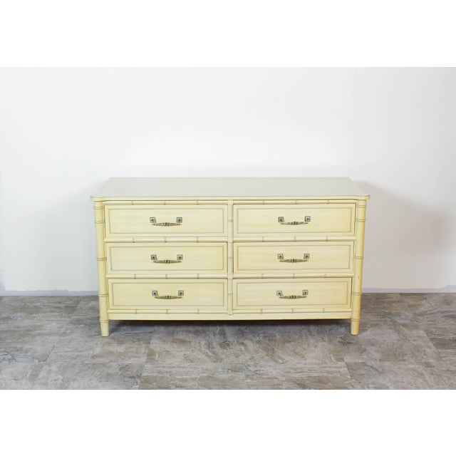Mid-Century Modern Mid Century Faux Bamboo Dresser, Faux Bamboo Dresser of Six Drawers, Cream Dresser For Sale - Image 3 of 7