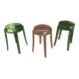 "Philippe Starck for Kartell ""Ghost"" Stacking Stools- Set of 3 For Sale"