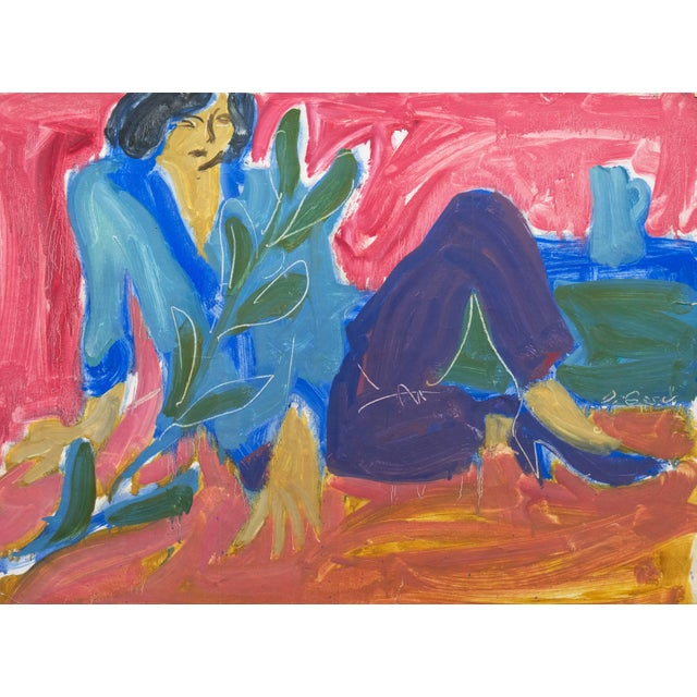 Paper 'Woman Seated' by Victor Di Gesu; 1955, Paris, Louvre, Académie Chaumière, California Post-Impressionist, Lacma For Sale - Image 7 of 7