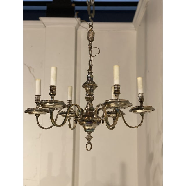 1920's Caldwell Six Light Silver Plated Chandelier For Sale In New York - Image 6 of 9