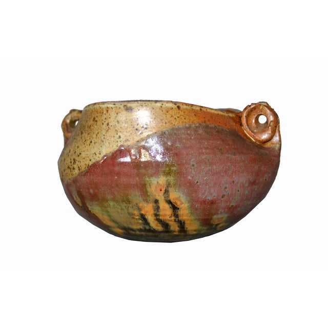1970s Houston 75 Mid-Century Modern Brown & Red Pottery Earthenware Round Bowl Vessel For Sale - Image 5 of 13