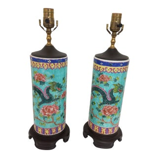 Chinese Aqua Dragon & Phoenix Cylinder Vases Mounted as Table Lamps - a Pair For Sale