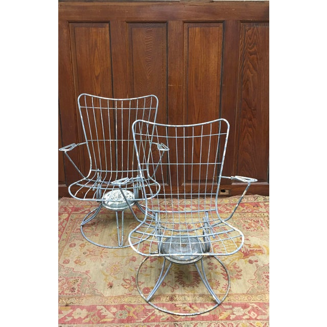 Vintage 60's Homecrest Mid Century Modern Iron Patio Chairs - a pair. These chairs rock and swivel and are very...