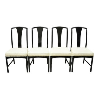 Chinoiserie Century Chair Co. Black Lacquer Chin Hua Dining Chairs - Set of 4 For Sale