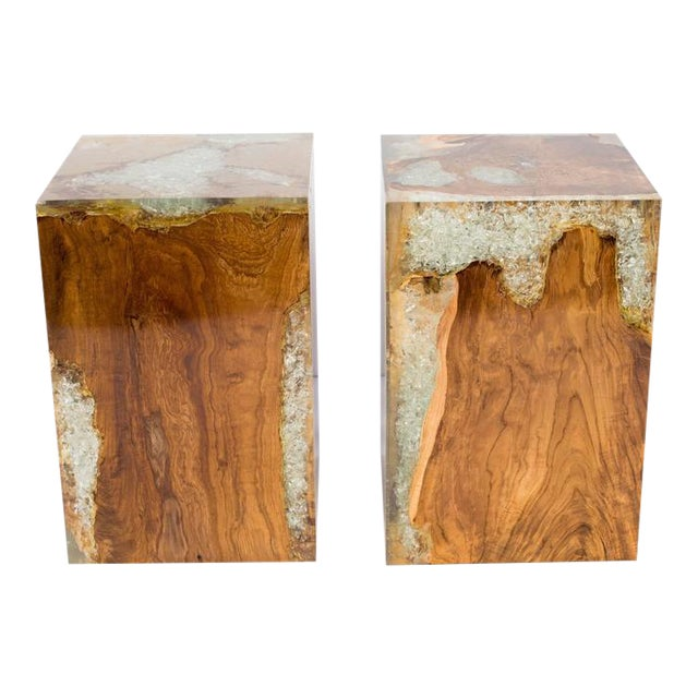 Organic Teak Wood and Cracked Resin Cube Table For Sale