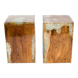 Organic Teak Wood and Cracked Resin Cube Tables