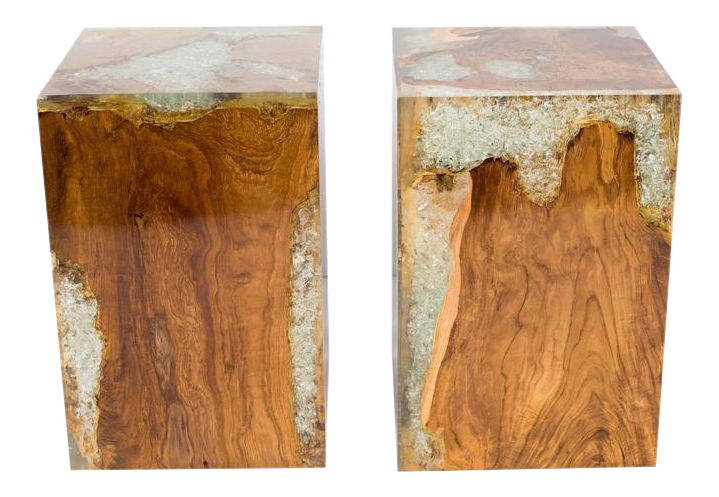Great Organic Teak Wood And Cracked Resin Cube Tables   Image 1 Of 10
