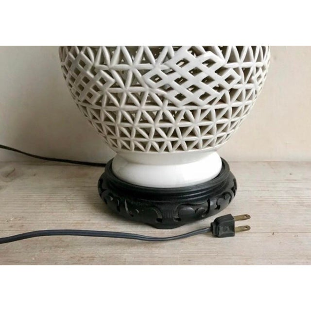 Mid-Century Blanc De Chine Ceramic Pierce Work Urn Table Lamp For Sale In New York - Image 6 of 12