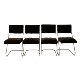 Milo Baughman Style Upholstered Chairs - Set of 4 For Sale