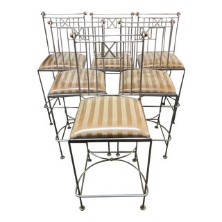 Custom Design Upholstered + Metal Barstools - Set of Six For Sale