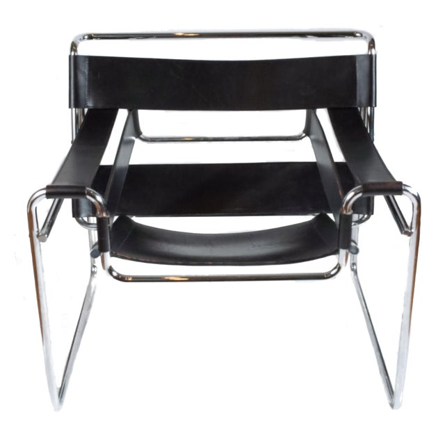 1970s Vintage Marcel Breuer Mid Century Modern Wassily Black Strap Leather Chair For Sale - Image 5 of 6