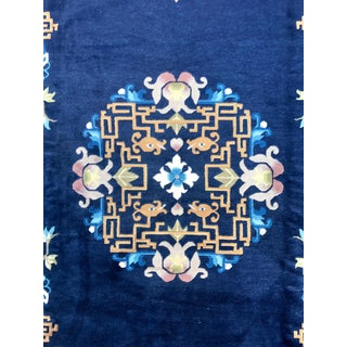Antique Blue Chinese Export Wool Rug For Sale