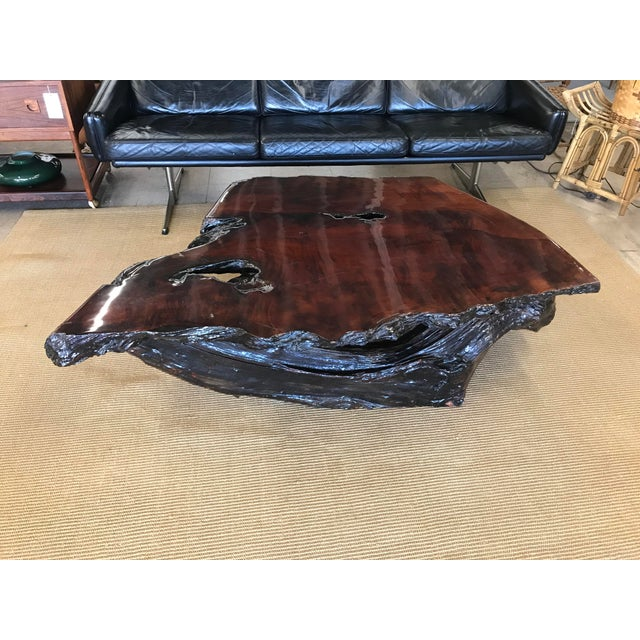 Vintage Burl Wood Live Edge Slab Coffee Table For Sale - Image 9 of 9