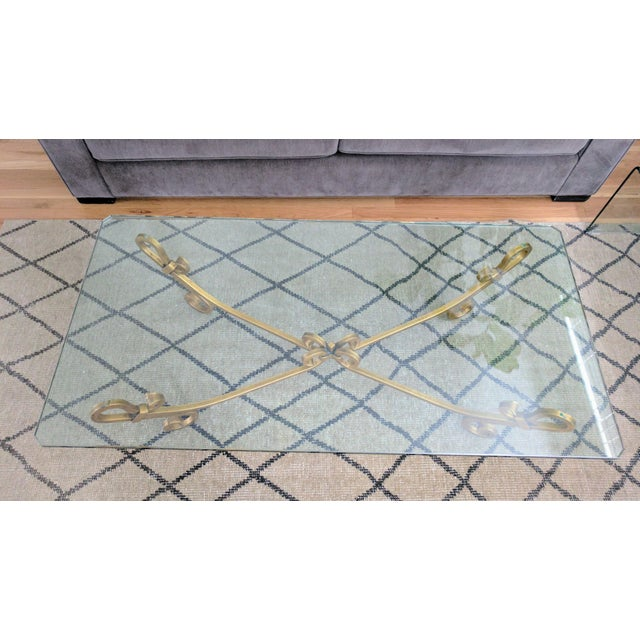 Hollywood Regency Vintage Wrought Iron Gold Beveled Glass Top Coffee Table For Sale - Image 3 of 11