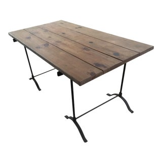 Pottery Barn Iron Trestle Table For Sale