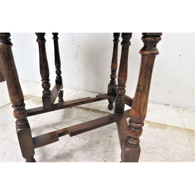 English Drop Leaf Gate Leg Tiger Oak Apartment Table For Sale - Image 6 of 10