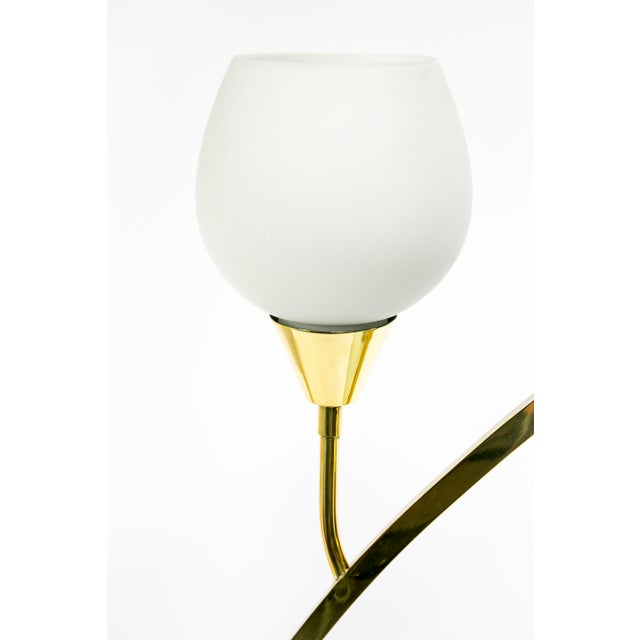 Mid-Century Modern Expansive Narrow Brass & Marble Mid-Century 4-Light Table Lamps W/ Glass Shades For Sale - Image 3 of 10