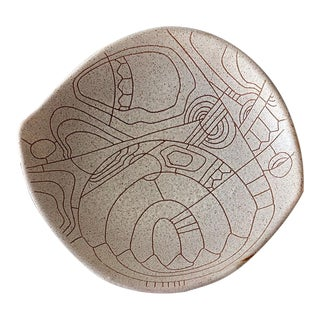 1960s Lapid Israel Abstract Stoneware Platter For Sale