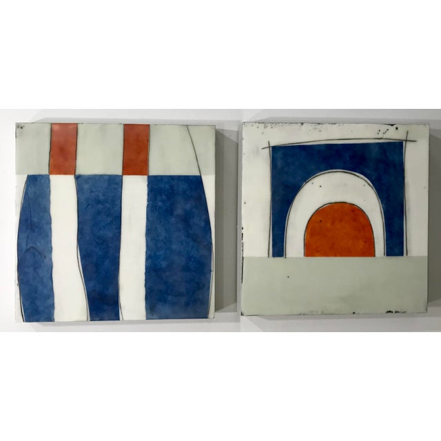 "Gina Cochran ""Perceptions No. 30"" Encaustic Collage Painting - Indigo & Orange For Sale - Image 4 of 7"