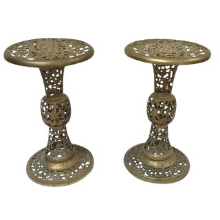Mid Century Modern Pierced Brass Plant Stands Filigree Pedestals - a Pair