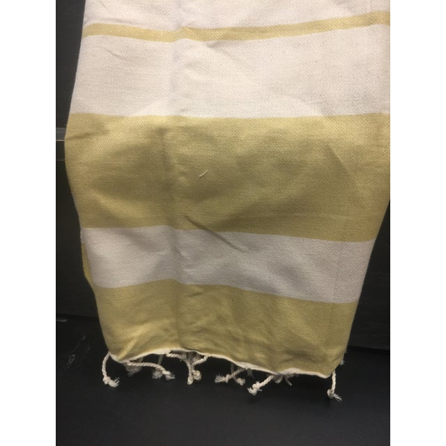 Turkish Mustard Striped Bath Towel For Sale In Chicago - Image 6 of 8