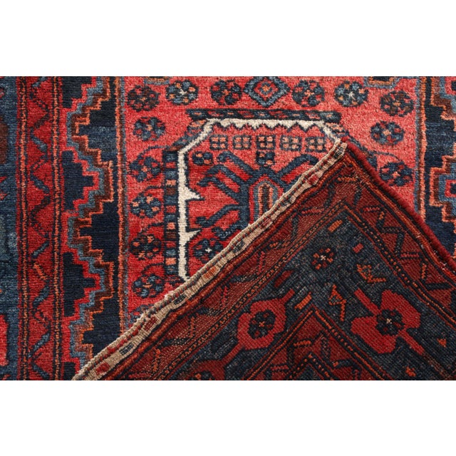 Early 20th Century Hand-Knotted Antique Mosul Rug in Red Blue Tribal Medallion Pattern For Sale - Image 5 of 5