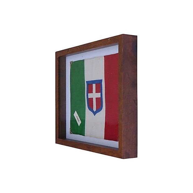 1940s Royal Sardinian Army flag. Newly framed. No maker's mark. Light wear.