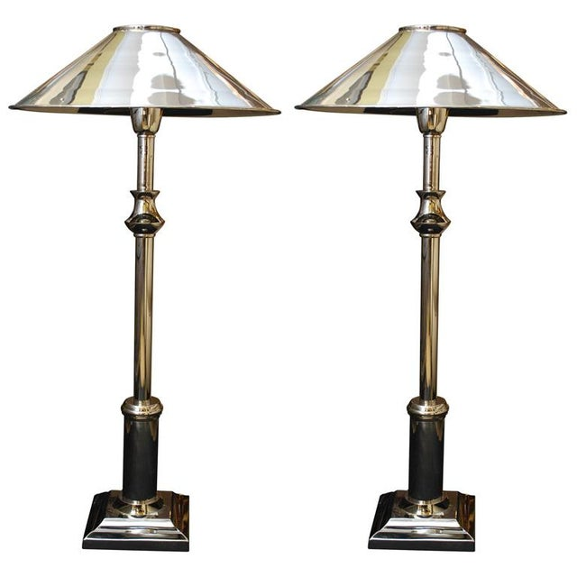 Chrome Candlestick Lamps - Pair - Image 1 of 6