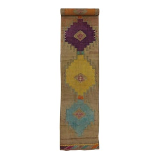 Vintage Turkish Oushak 21 Ft Runner with Modern Contemporary Style, Painted Oushak Rug For Sale