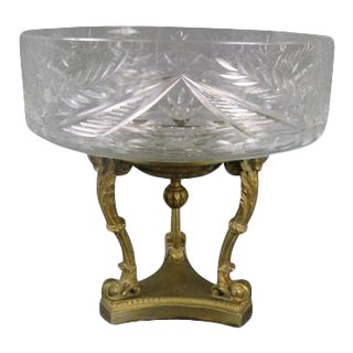 Late 19th Century Cut Glass Compote on Bronze Dore Base For Sale