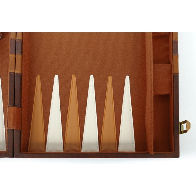 Late 20th Century Vintage Large Leatherette Backgammon Set W/ Travel Case For Sale - Image 5 of 8