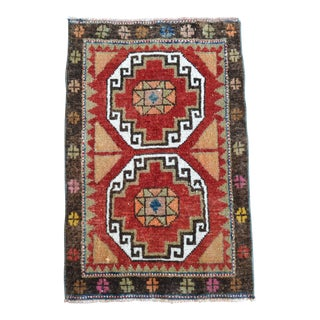 Hand Knotted Door Mat, Entryway Rug, Bath Mat, Kitchen Decor, Small Rug, Turkish Rug - 1′9″ × 2′9″ For Sale