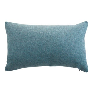 FirmaMenta Italian Aegean Blue Sustainable Wool Lumbar Pillow For Sale