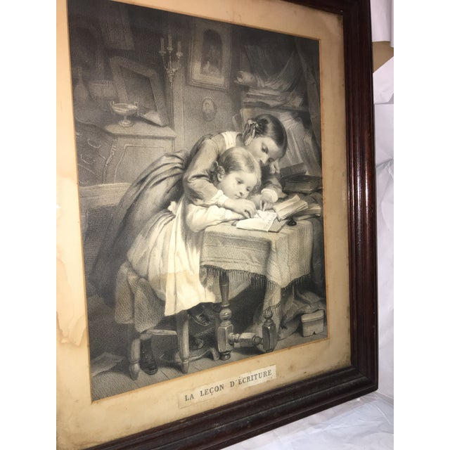 "19th Century ""The Writing Lesson"" Lithograph - Image 6 of 11"