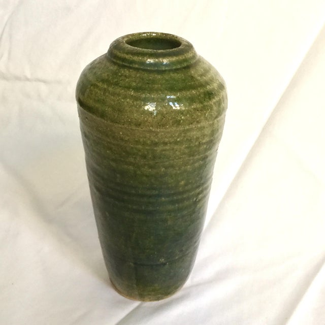Vintage Hand Thrown Pottery Vase, Green - Image 2 of 9