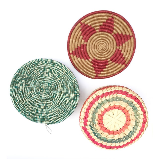 Multicolored Woven Baskets - Set of 3 For Sale - Image 5 of 8