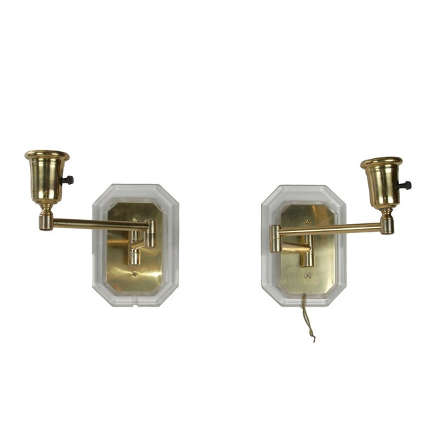 Brass Lucite and Brass Swing Wall Sconces - Pair For Sale - Image 7 of 7