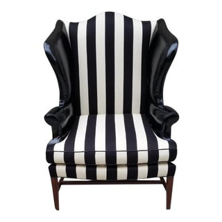 Wingback Chair by Baker Newly Upholstered in Black and White Striped Fabric and Soft Black Patten Leather For Sale